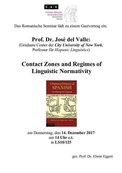 Plakat Gastvortrag Jose del Valle